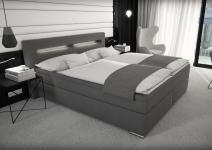 Stoff Boxspring Bett Nizza grau 180 x 200 cm mit LED Beleuchtung + Stoffbezug Boxspringbett Gel Gelschaum Topper günstig