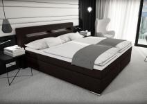 Stoff Boxspring Bett Nizza Vintage Style schwarz braun 180 x 200 cm mit LED Beleuchtung + Stoffbezug Boxspringbett Gel Gelschaum Topper
