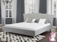 NEU Barock Polsterbett Unicorn Bett mit Stoffbezug grau + Strasssteine + Lattenrost / Bettkasten