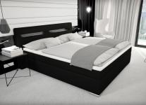 Leder Boxspring Bett Paris schwarz 180 x 200 cm mit Bettkasten Stauraum + LED Beleuchtung Boxspringbett Gel Gelschaum Topper