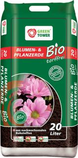 GREEN TOWER 10 x Bio Blumen- und Pflanzerde Beutel à 20 Liter
