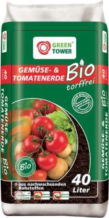 GREEN TOWER 10 x Bio Tomaten- und Gemüseerde Beutel à 40 Liter