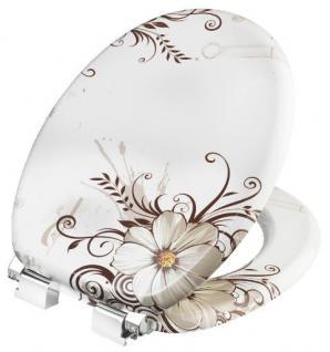 Toilettendeckel WC Deckel Absenkautomatik MDF Blumen braun auf weiß