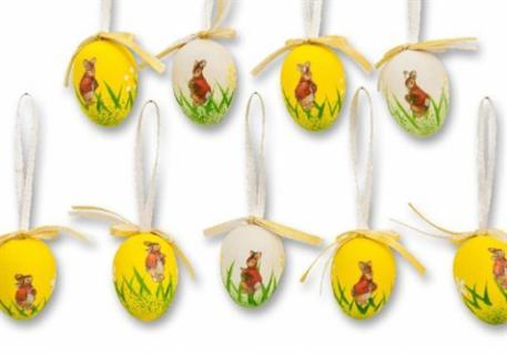 Ostereier 9 tlg. Set zum Anhängen im Hasen-Design, Plastik, Ø 3cm
