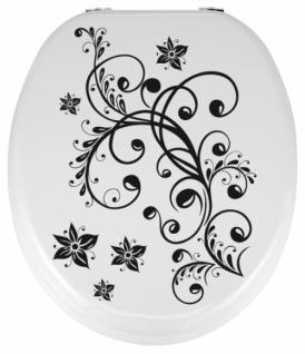 Toilettendeckel WC Deckel WC-Sitz MDF BLUMEN schwarz weiß