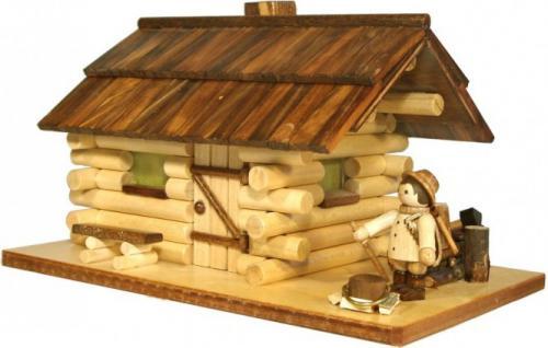 Echt Erzgebirge Räucherhaus mit Waldarbeiter