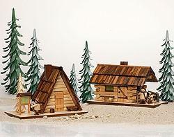 Echt Erzgebirge Räucherhaus Schutzhütte mit Wanderer