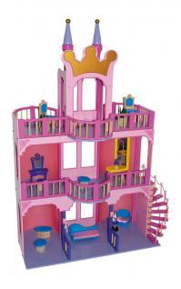 Puppenhaus Puppenstube rosa Holz, Märchenschloss