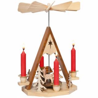 Pyramide, für 4 Kerzen, Rehe und Krippe