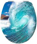 3D-Chrom Toilettendeckel WC Deckel WAVE WELLE in 3D-Effekt mit Absenkautomatik