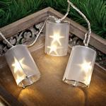 LED-Minilichterkette, Laternen mit Holografiefolie, 20 warmweiße LEDs