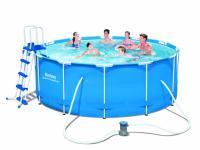 Bestway 56420 Frame Pool Steel Pro Set mit Filterpumpe + Zubehör 366 x 122 cm