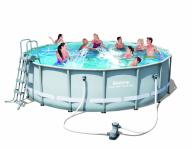 Bestway Frame Pool Power Steel Set, hellgrau mit Filterpumpe + Zubehör 488 x 122 cm