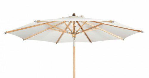 Eleganter Sonnenschirm ø 350 cm Naturweiß/ Naturweiss von Kai Wiechmann® / Sonnendach/ Gartenschirm/ Schirm/ Gartenmöbel/ Marktschirm/ Premium-Qualität