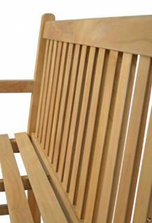 """Massive Bank aus der Serie """"Andorra"""" hochwertig gefertigt aus Teakholz 130 cm mit Armlehne von Kai Wiechmann® / Gartenbank/ Sitzbank/ Parkbank/ Gartenmöbel/ Holzbank/ Teak-Bank - Vorschau 4"""