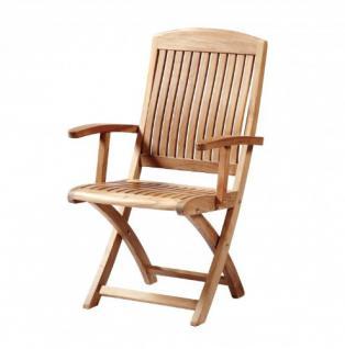 """Eleganter Klappstuhl aus der Premium-Serie """"Brighton"""" gefertigt aus Teakholz mit Armlehne von Kai Wiechmann® / perfekte ergonomische Rücken- und Sitzfläche/ Gartenmöbel/ Sessel/ Stuhl/ Gartenstuhl/ Gartenklappstuhl/ Premium- Qualität"""