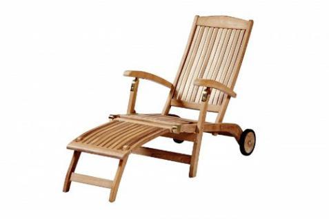 """Eleganter Deckchair aus der Premium-Serie """"Brighton"""" gefertigt aus Teakholz mit Rad Kai Wiechmann® / massiv/ Liege/ Sonnenliege/ Liegestuhl/ Gartenliege/ Gartenmöbel/ Holz-Liege/ Teak-Liege/ klappbar/ zusammenklappbar/ Premium-Qualität - Vorschau 1"""