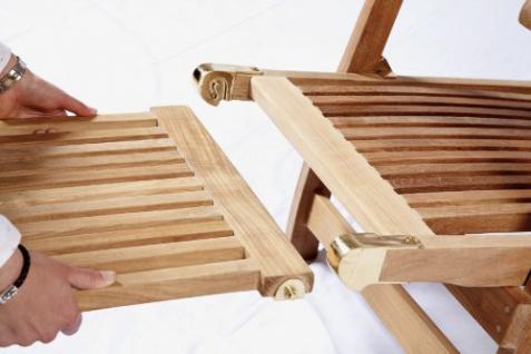 """Eleganter Deckchair aus der Premium-Serie """"Brighton"""" gefertigt aus Teakholz mit Rad Kai Wiechmann® / massiv/ Liege/ Sonnenliege/ Liegestuhl/ Gartenliege/ Gartenmöbel/ Holz-Liege/ Teak-Liege/ klappbar/ zusammenklappbar/ Premium-Qualität - Vorschau 3"""