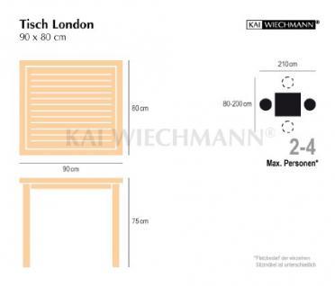 """Massiver Gartentisch aus der Serie """"London"""" hochwertig gefertigt aus Teakholz 90 x 80 cm von Kai Wiechmann® / Holztisch/ Teak-Tisch/ Esstisch/ Gartenmöbel/ rechteckig - Vorschau 2"""
