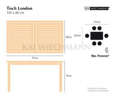 """Massiver Gartentisch aus der Serie """"London"""" hochwertig gefertigt aus Teakholz 150 x 80 cm von Kai Wiechmann® / Holztisch/ Teak-Tisch/ Esstisch/ Gartenmöbel/ rechteckig - Vorschau 2"""