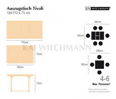 """Massiver Ausziehtisch aus der Serie """"Tivoli"""" hochwertig gefertigt aus Teakholz 120 cm ausziehbar auf 170 cm von Kai Wiechmann® / Gartentisch/ Auszugstisch/ Gartenmöbel/ Teak-Tisch - Vorschau 2"""