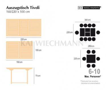 """Massiver Ausziehtisch aus der Serie """"Tivoli"""" hochwertig gefertigt aus Teakholz 160 cm ausziehbar auf 220 cm von Kai Wiechmann® / Gartentisch/ Auszugstisch/ Gartenmöbel/ Teak-Tisch - Vorschau 2"""