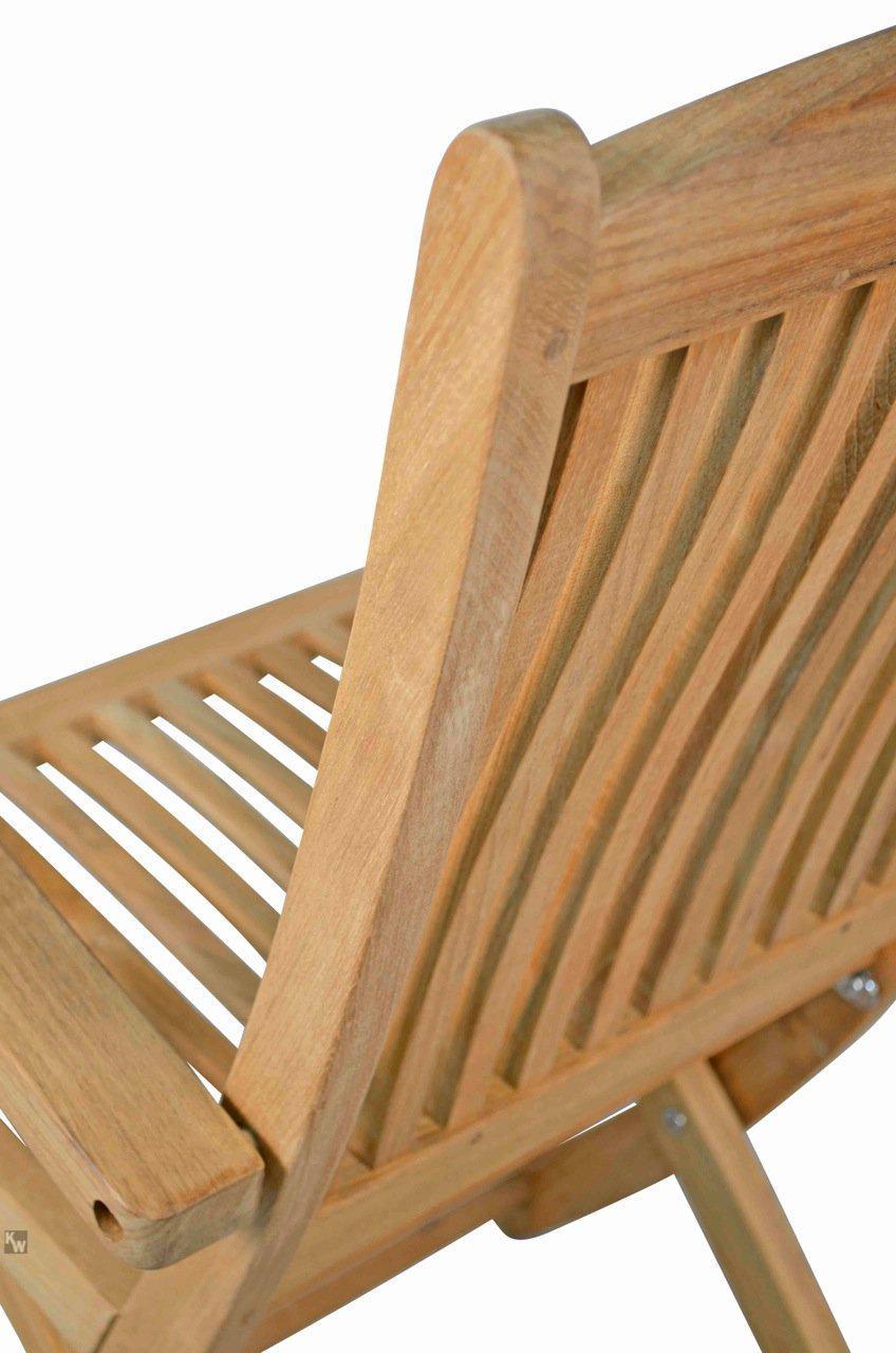 robuster klappstuhl aus der serie portofino hochwertig gefertigt aus teakholz mit armlehne und. Black Bedroom Furniture Sets. Home Design Ideas