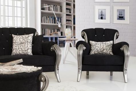 Sofa Couch Set Kea schwarz grau Polstermöbel Sitzgarnitur