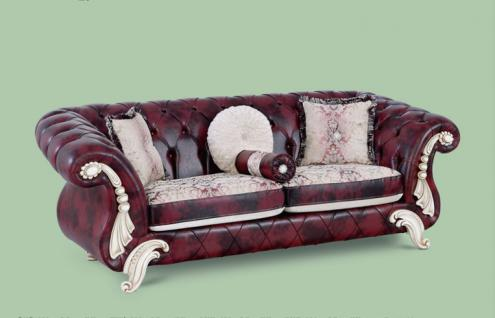 Couch Tugra 3er dunkelrot Klassik Barockstil Orient