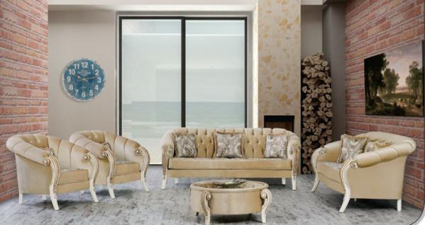 Sitzgruppe Kübra beige Klassik Barockstil Orient