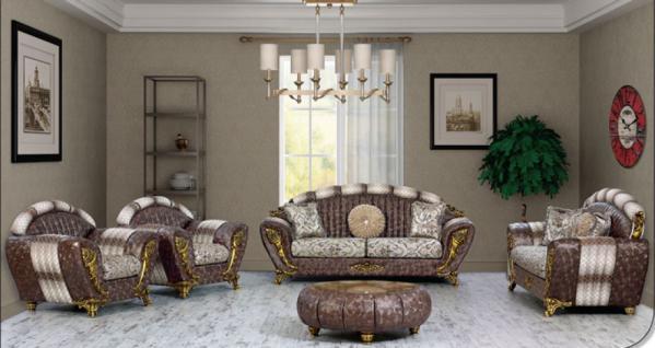 Sitzgruppe Mirac braun beige Klassik Barockstil Orient