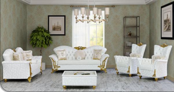 Sitzgruppe Buglem weiss gold Klassik Barockstil Orient