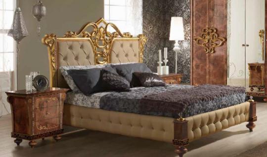 Bett 180x200 cm Desere beige gold Luxus Schlafzimmer