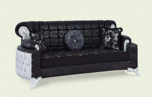 Couch Uranüs 3er schwarz silber Klassik Barockstil Orient