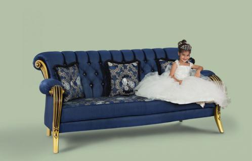 Couch Kübranur 3er blau gold Klassik Barockstil Orient