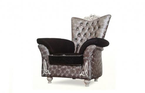 Sessel Berna silber grau schwarz Garnituren Polstermöbel