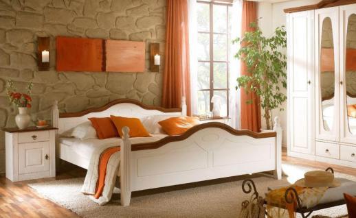 Bett 140x200cm Verra im Landhausstil Pinie weiß Absetzung Nußbau