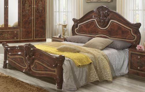 Bett in 180x200 cm Amalia in Walnuss klassik italienisch