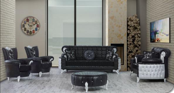 Sitzgruppe Uranüs schwarz silber Klassik Barockstil Orient