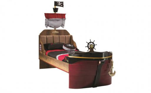 Bett Korsan Pirat Schiffsbett braun für Kinderzimmer Kinderbett