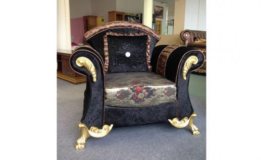 Sessel Gala in schwarz gold Orientalisch Luxus Sofa Couch Polste