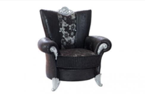 Sessel Uranüs 1er schwarz silber Klassik Barockstil Orient