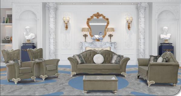 Sitzgruppe Jüpiter grau Klassik Barockstil Orient