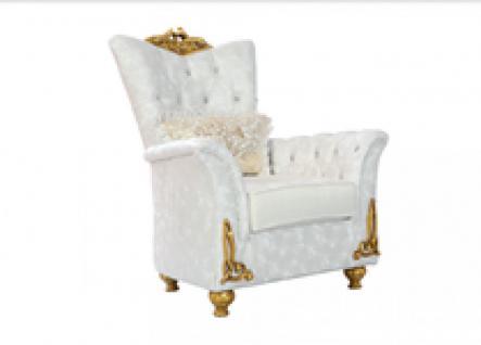 Sessel Buglem 1er weiss gold Klassik Barockstil Orient
