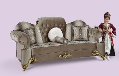 Couch Hürrem 3er grau Klassik Barockstil Orient