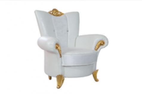 Sessel Uranüs 1er weiss gold Klassik Barockstil Orient
