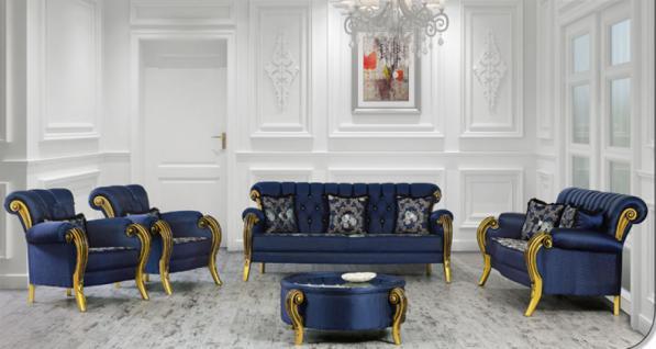 Sitzgruppe Kübranur blau gold Klassik Barockstil Orient