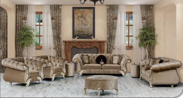 Sitzgruppe Tugra beige Klassik Barockstil Orient