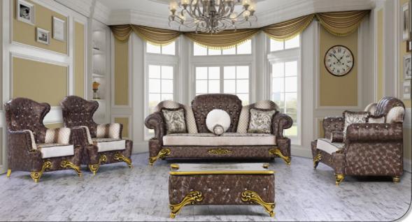 Sitzgruppe Hürrem braun beige Klassik Barockstil Orient