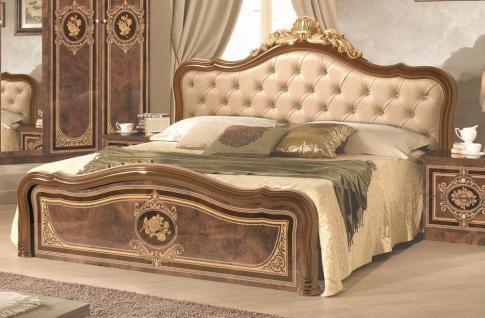 Bett 160x200 cm Alice in Walnuss Gold mit Polsterung